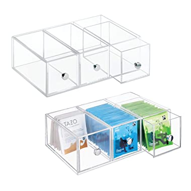 mDesign Kitchen Pantry, Cabinet, Countertop Plastic Organizer Storage Station with 3 Drawers for Coffee, Tea, Sugar Packets, Sweeteners, Creamers, Drink Pods, Packets - Pack of 2, Clear