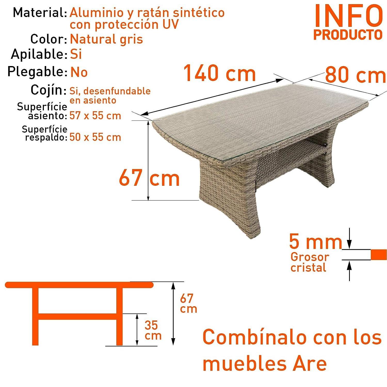 Portes gratis Aluminio y ratt/án sint/ético color gris Conjunto sof/ás de exterior esquinero 3+2 5 plazas
