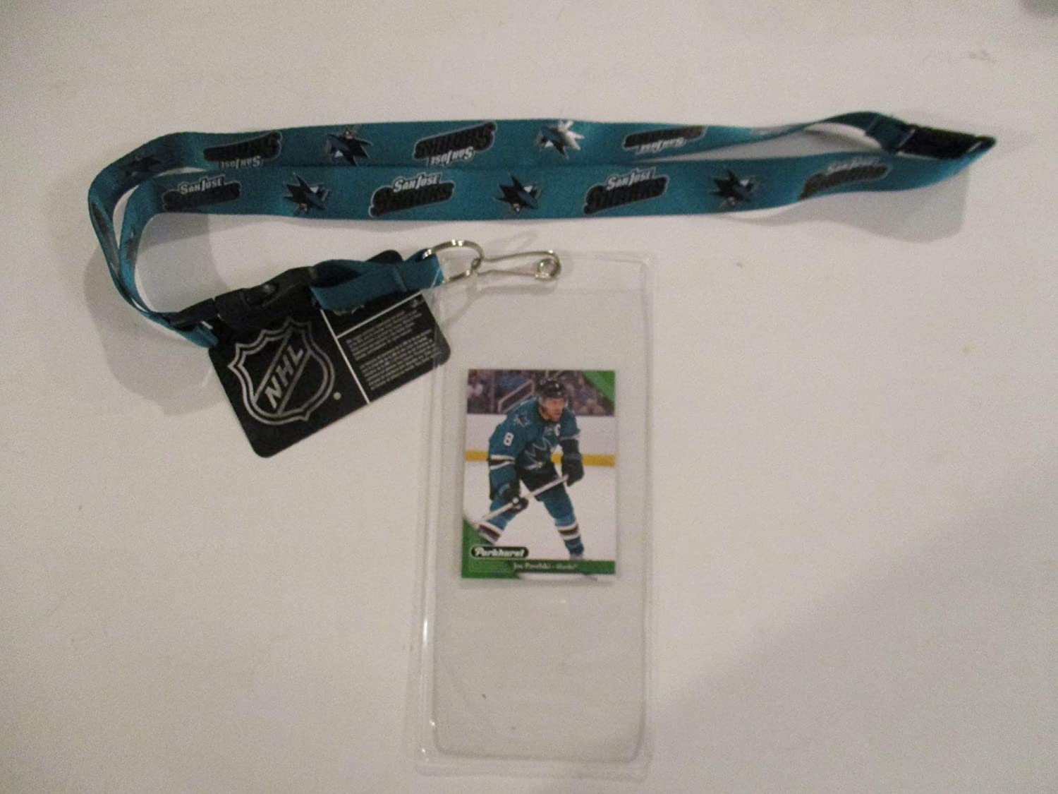 SAN JOSE SHARKS TEAL LANYARD WITH TICKET HOLDER PLUS COLLECTIBLE PLAYER CARD