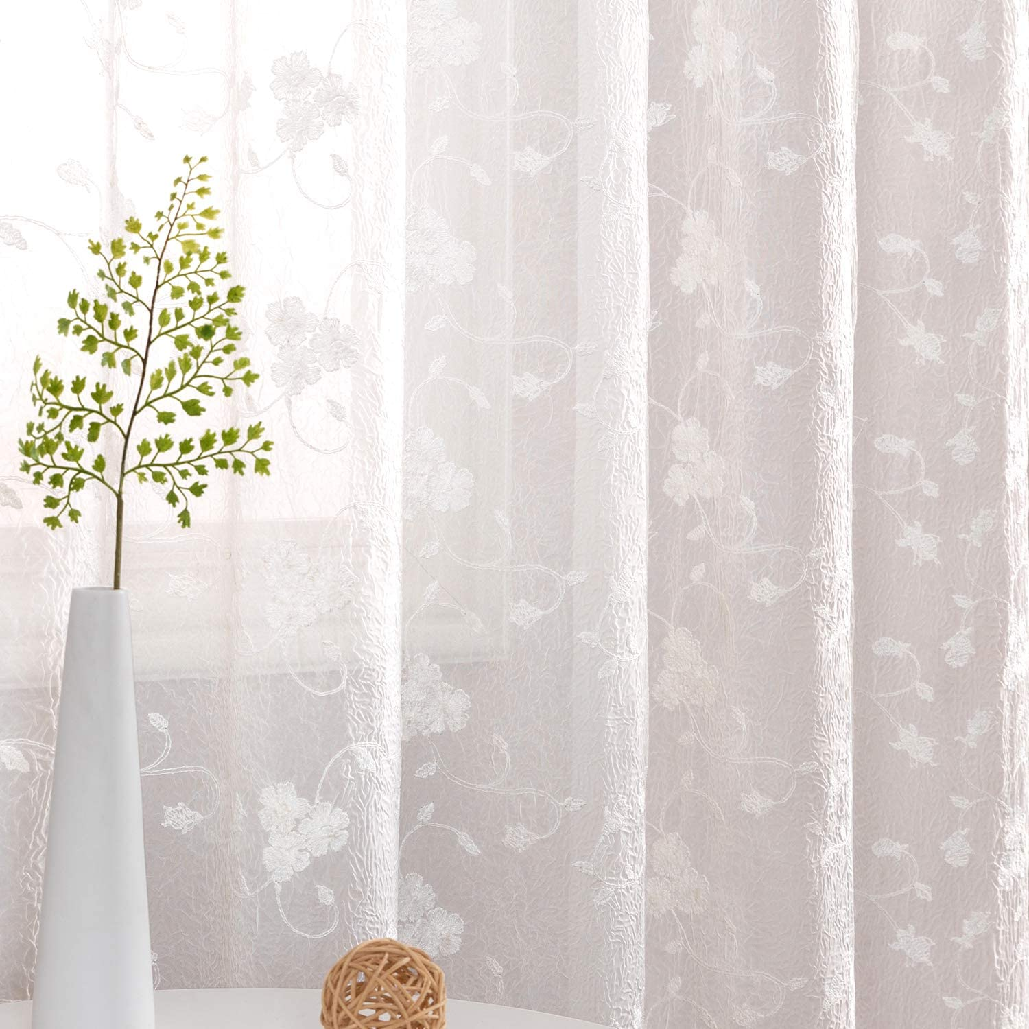 Amazon Com Sheer Curtains For Bedroom Flower Embroidery Voile Living Room Country Curtains Rustic Vintage Floral Embroidered Window Treatment Set Rod Pocket Pole Top 40 Inch Wide 63 Inch Long 2 Panels White