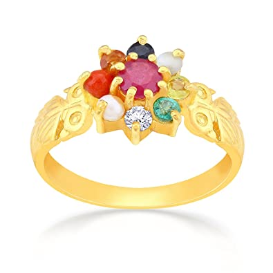 e0e8d3a0123fe Buy Malabar Gold and Diamonds 22k (916) Yellow Gold Navaratna Ring ...
