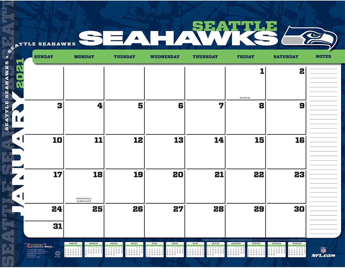 TURNER Sports Seattle Seahawks 2021 22X17 Desk Calendar (21998061552)