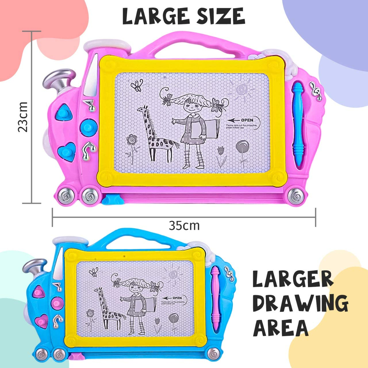 Daily Splurge Assorted Colors Magnetic Drawing Board Great for Writing Bonus Vegetables Name Cards Perfect Educational Toys for Beginner Pink Blue 2335 cm Doodle Board with Erasable