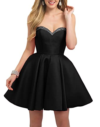 Vweil A Line Sweetheart Beaded Prom Dress Short Homecoming Gowns For Juniors Black US2