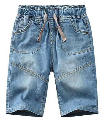 c8587807c Amazon.com: Betusline Boys' Denim Shorts with Drawstring: Clothing