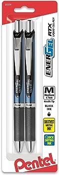 2-Pack Pentel EnerGel Deluxe RTX Retractable Liquid Gel Pen