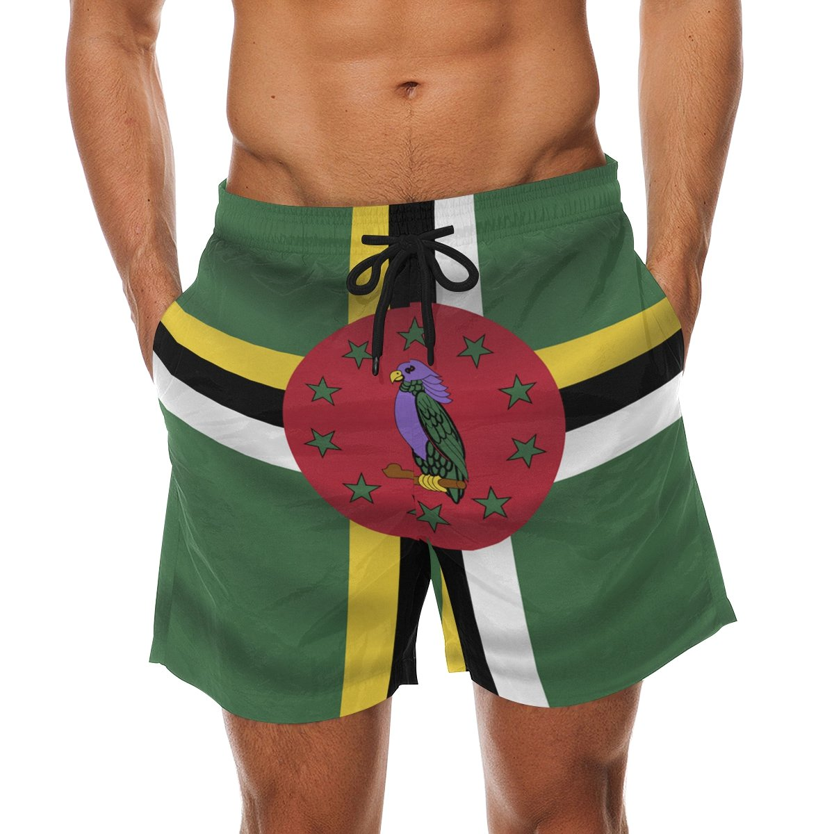 CoolPrintAll Dominica Flag Men's Swim Trunks Beach Shorts with Pockets