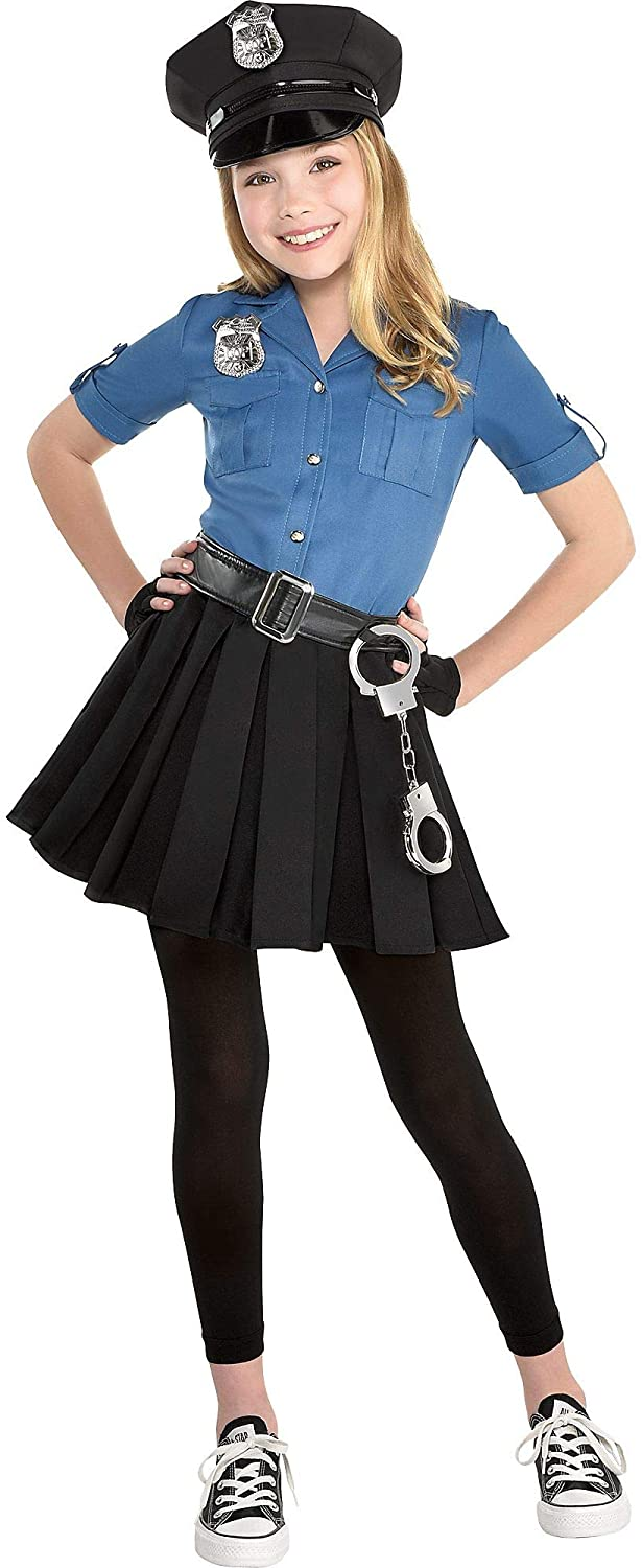 amscan Girls Officer Cutie Cop Costume - Toddler (2), Blue, Small