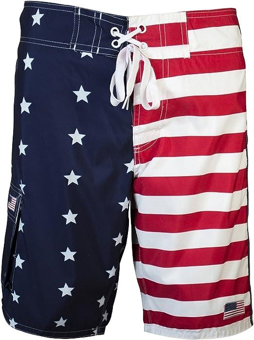 UZZI Mens American Flag Swim Trunks