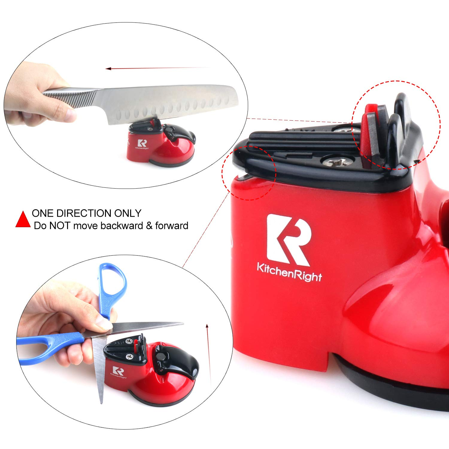 Kitchen Knife Sharpener Scissor Sharpener 2-Stage Knife & Scissor Sharpening Tool Helps Repair Camping & Hiking Precision Perfect,Calibration Easy Safe KitchenRight by KitchenRight (Image #6)