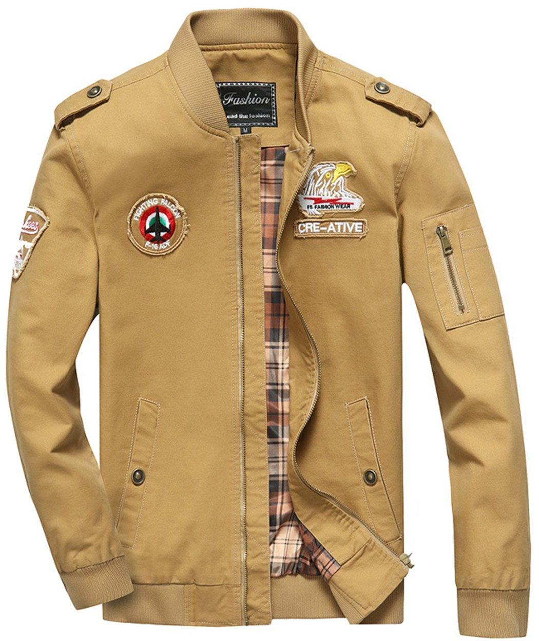 Sawadikaa Men's Military Cotton Lightweight Jacket Windbreaker Wind Trench Coat Bomber Jacket Khaki Large by Sawadikaa