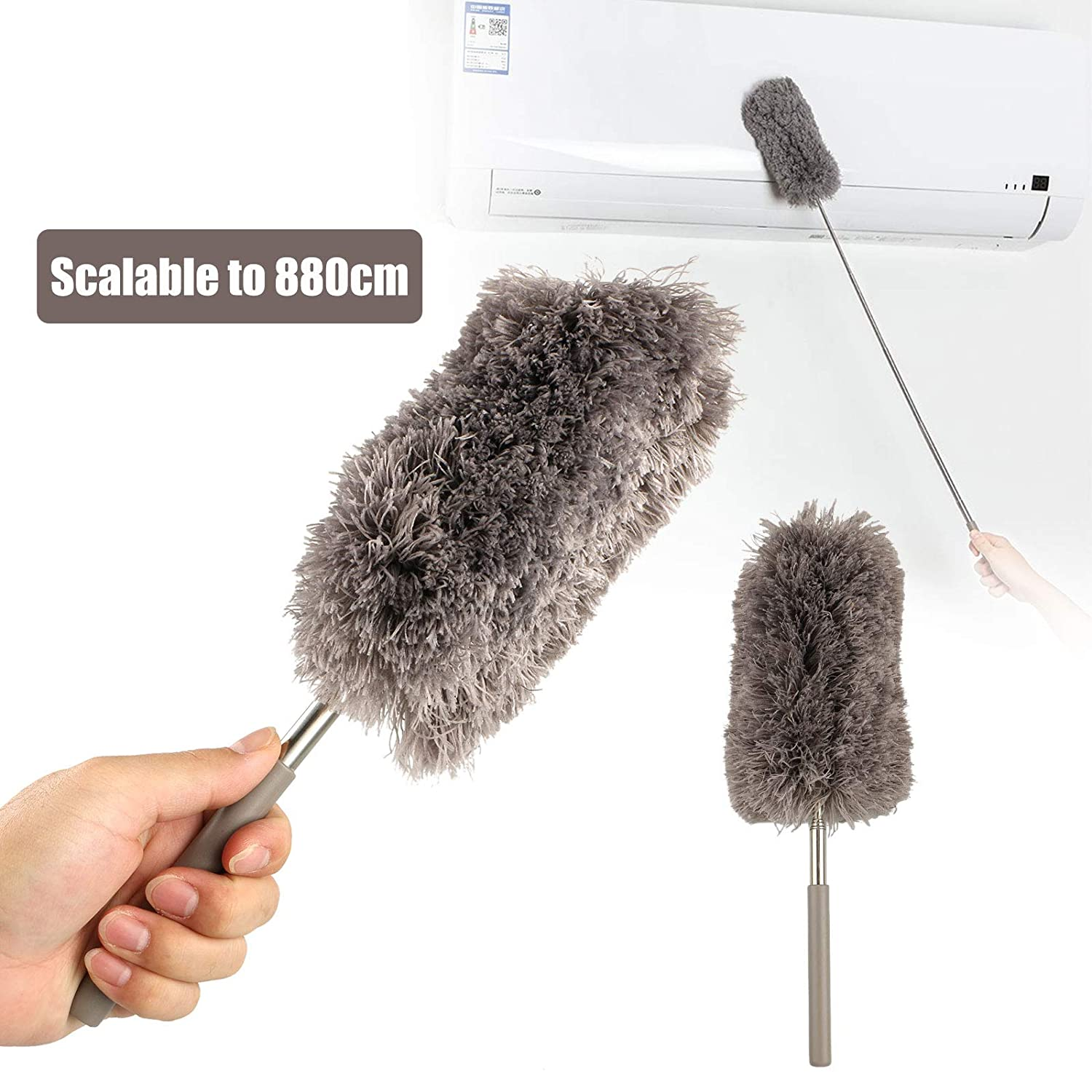 """EEEKit Long Duster, Extension Ceiling Fan Brush Cobweb Remover Microfiber Head, 12""""-34"""" Extension Pole, High Ceiling Chandelier Cleaner"""