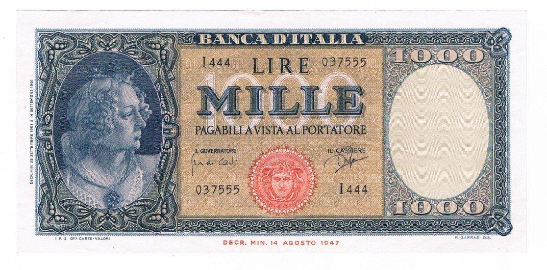 Cartamoneta  1000 Lire Italia ORNATA di Perle Medusa 25 09 1961 SPL+