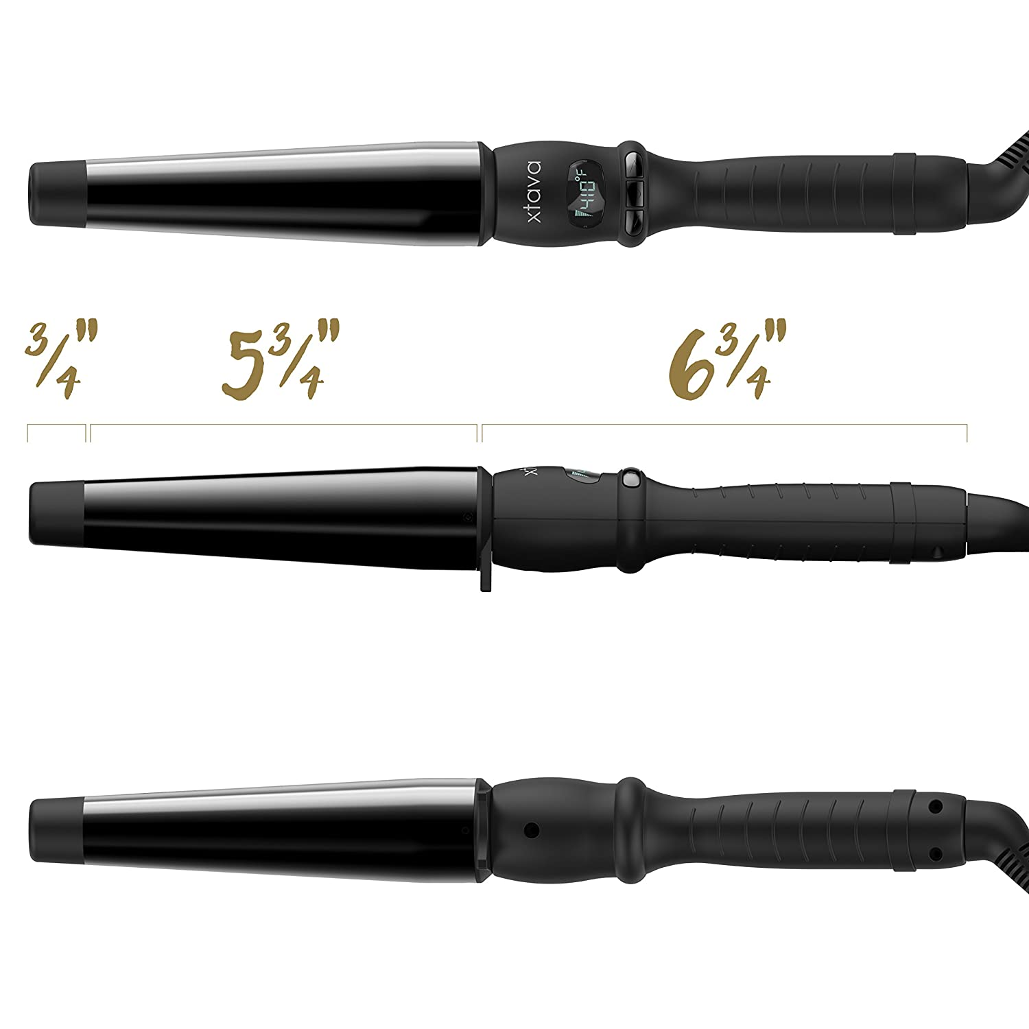 Xtava Twist Curl Curling Wand – 1 to 1.5 Inch Professional Hair Wand with Ceramic Barrel Cool Tip and Auto Shut Off – Dual Voltage Travel Curling Iron for Long Short Hair with Heat Resistant Glove