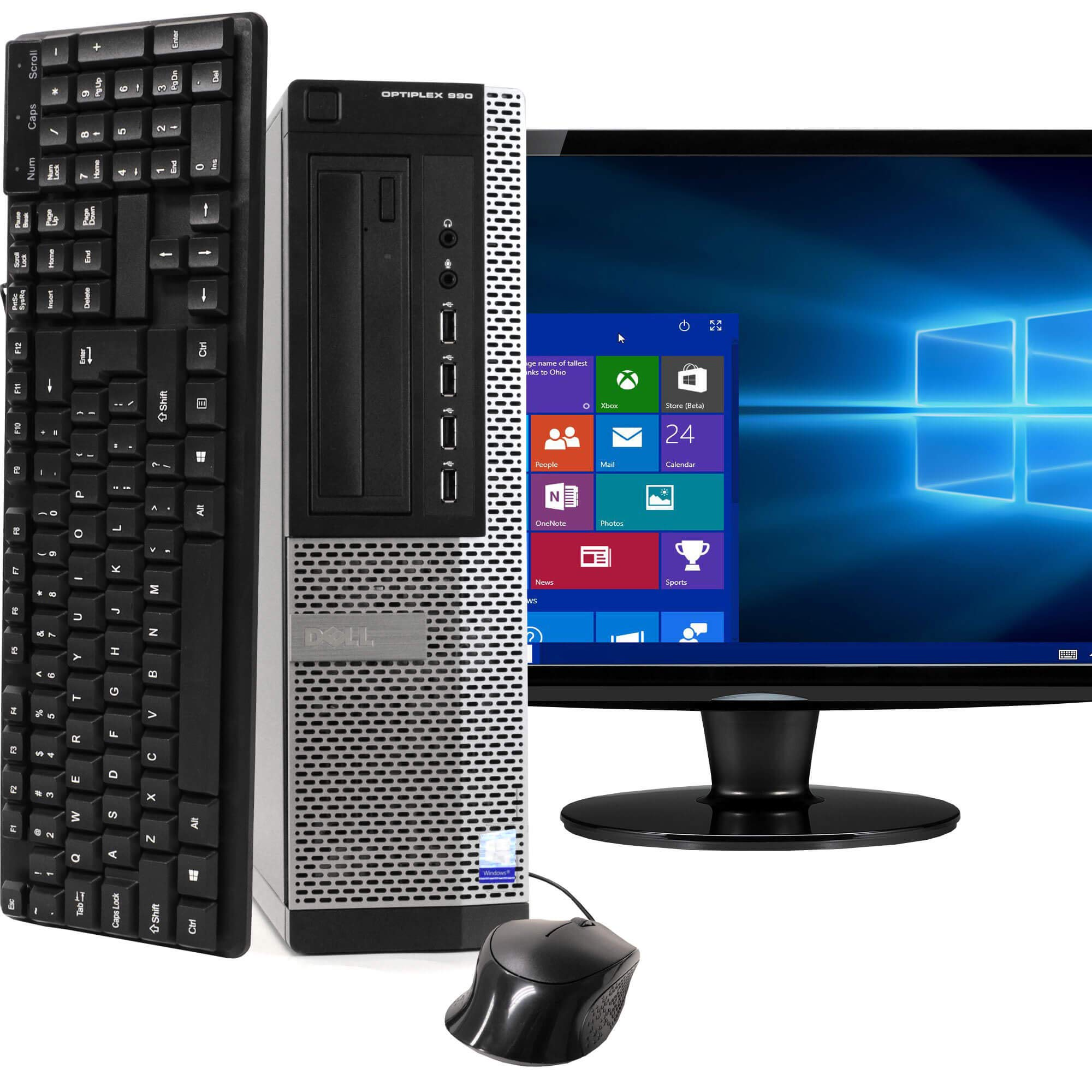 Dell Optiplex 990 SFF PC, Intel Core i5 Processor, 16GB RAM, 2TB HDD, DVDRW, Keyboard & Mouse, Wi-Fi, Bluetooth 4.0, Windows 10 Home, 20in LCD Monitor (Renewed)