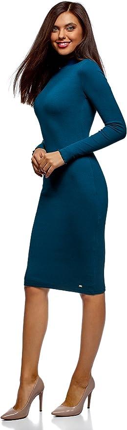 oodji Ultra Mujer Vestido de Punto con Cuello Mao, Azul, ES 34 ...