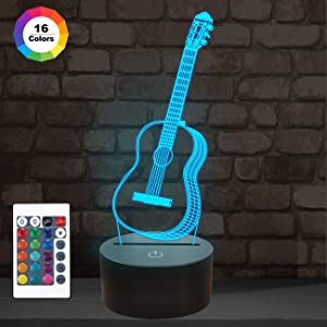 3D Night Light Guitar Gifts for Music Lover, 3D Illusion Lamp with Remote Control &16 Colors Changing Amazing Idea Choice for Musical Instrument Shop Home Party Supply Decoration Xmas Valentine's Day