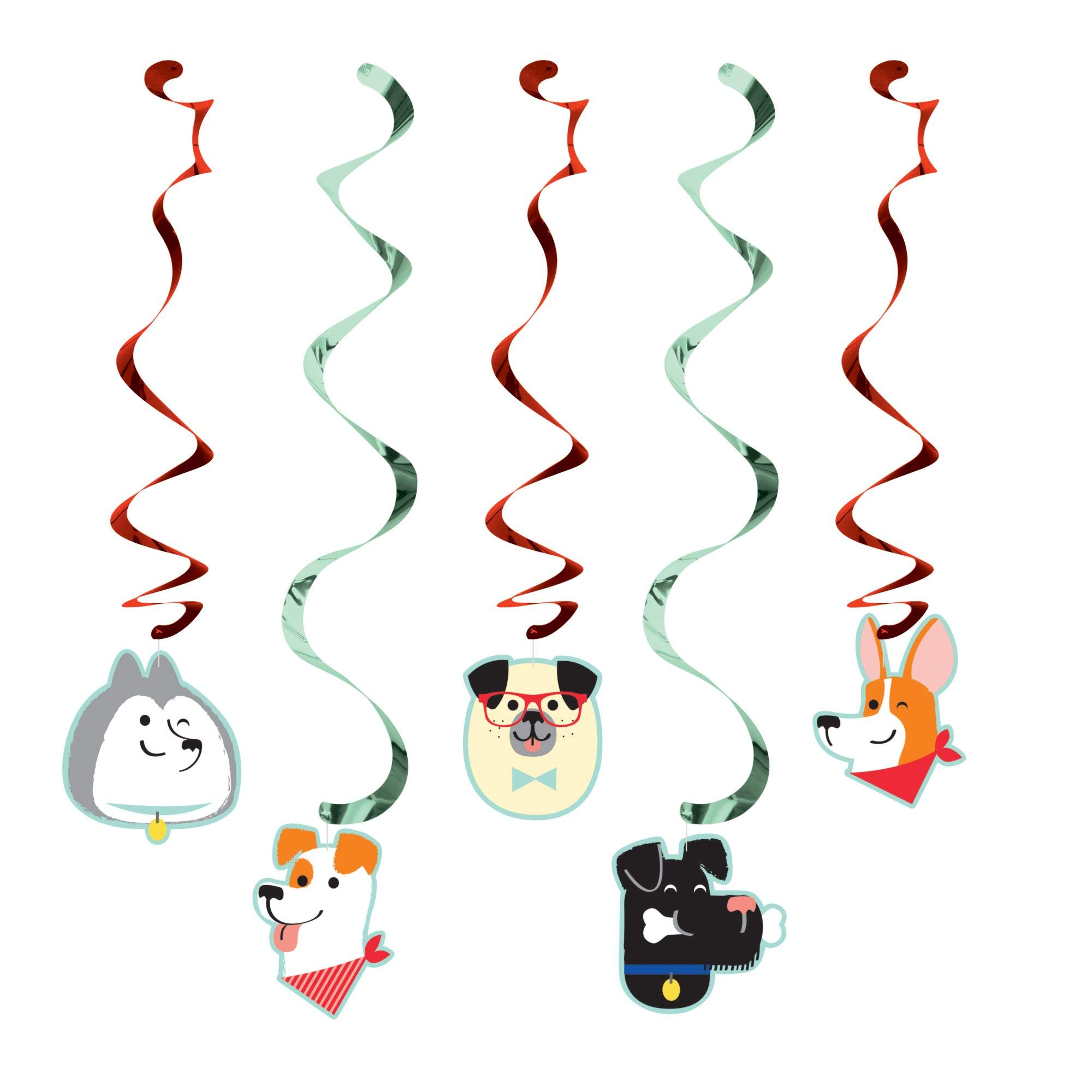 Club Pack of 30 Black and Gray Dog Party Themed Dizzy Danglers 39''