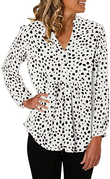 VRTUR Camisa Larga único Estilo Otoño Vestido Casual para Mujer Top con Botones y Cuello en V Camiseta de Manga Larga con Estampado de Leopardo: Amazon.es: Ropa y accesorios
