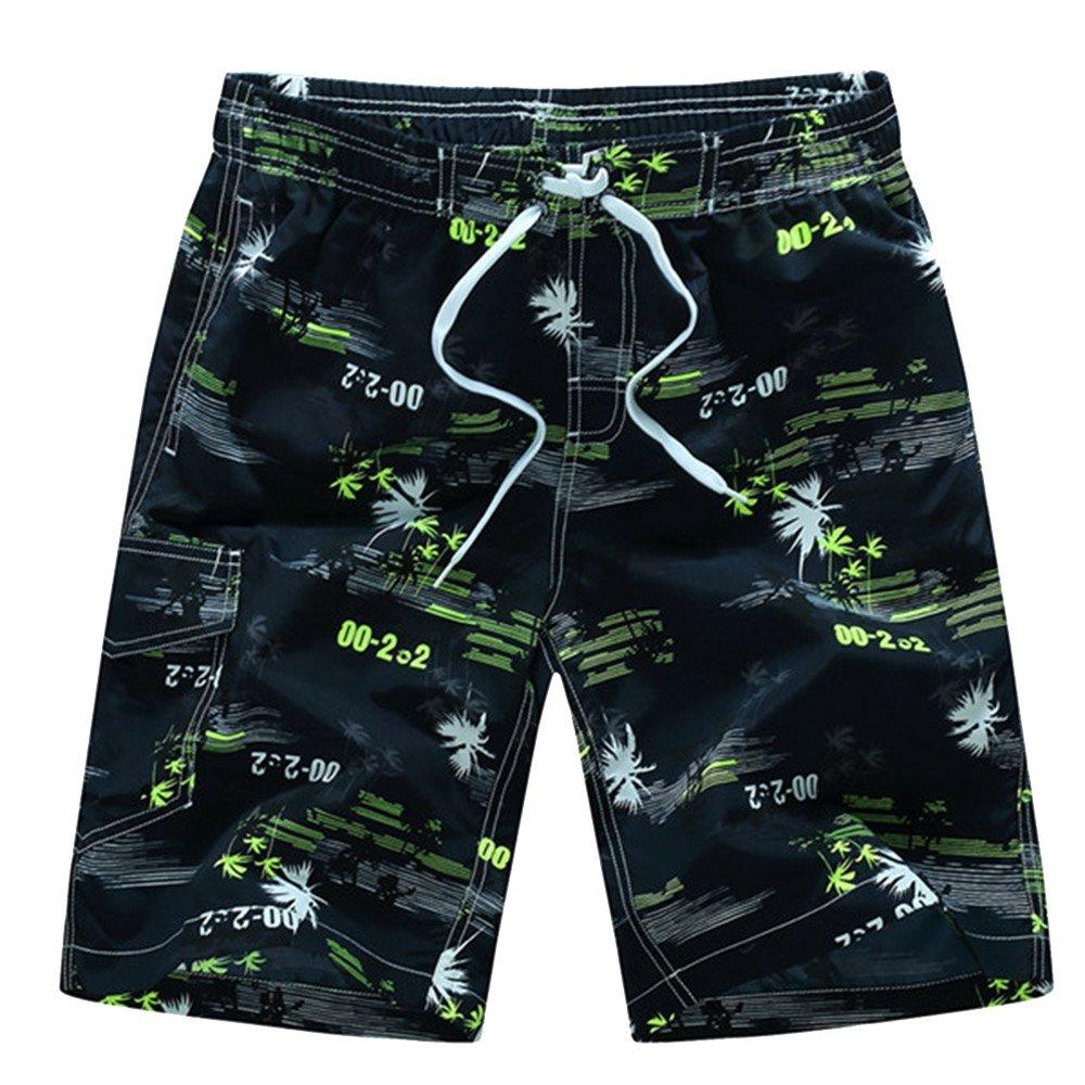 Sevem-D Mens Shorts Summer Floral Printed Hip Hop Beach Shorts Male Boardshort Swimsuit Board Casual Yellow Shorts M