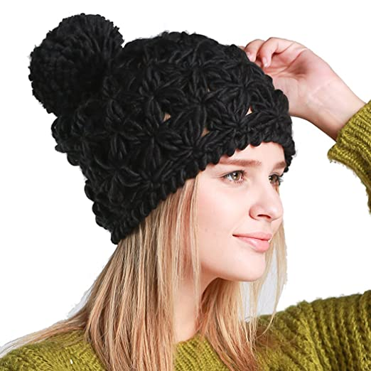 JcxHat Women Hollow Out Crochet Chunky Pom Pom Warm Winter Knit Hat Beanie  Skully Cap at Amazon Women s Clothing store  5116329484e