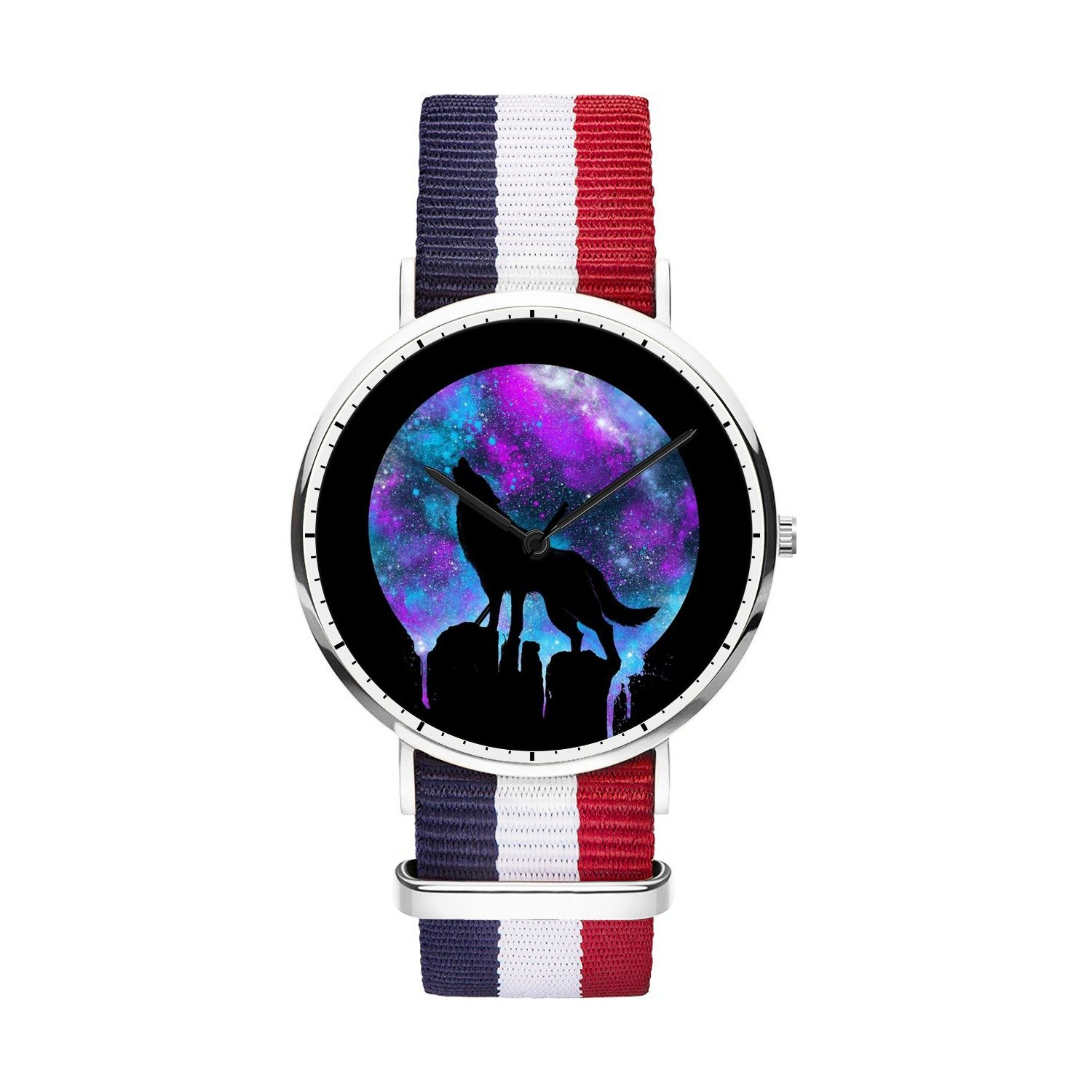 FELOOWSE Girls Watches, Women Watches, Sliver Slim Minimalist Imported Japanese Quartz PracticalWaterproof Unique Personalized Youth Fashion Design Cute Watches for Women.- Wolf