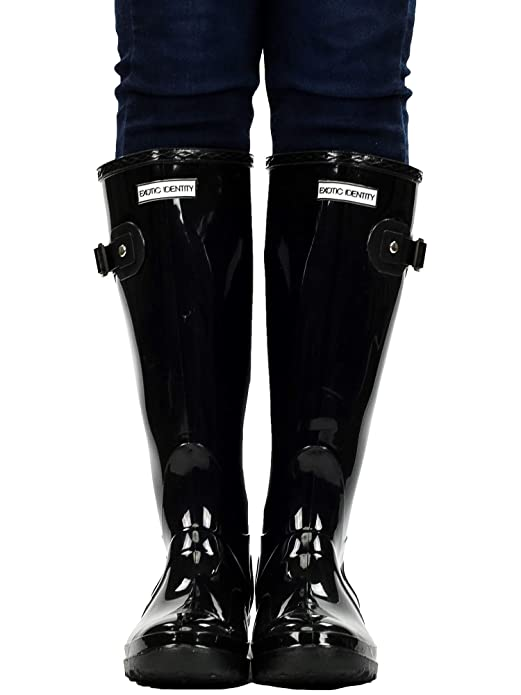 Amazon.com | Exotic Identity Womens Original Tall Knee-High Rain Boot | Rain Footwear