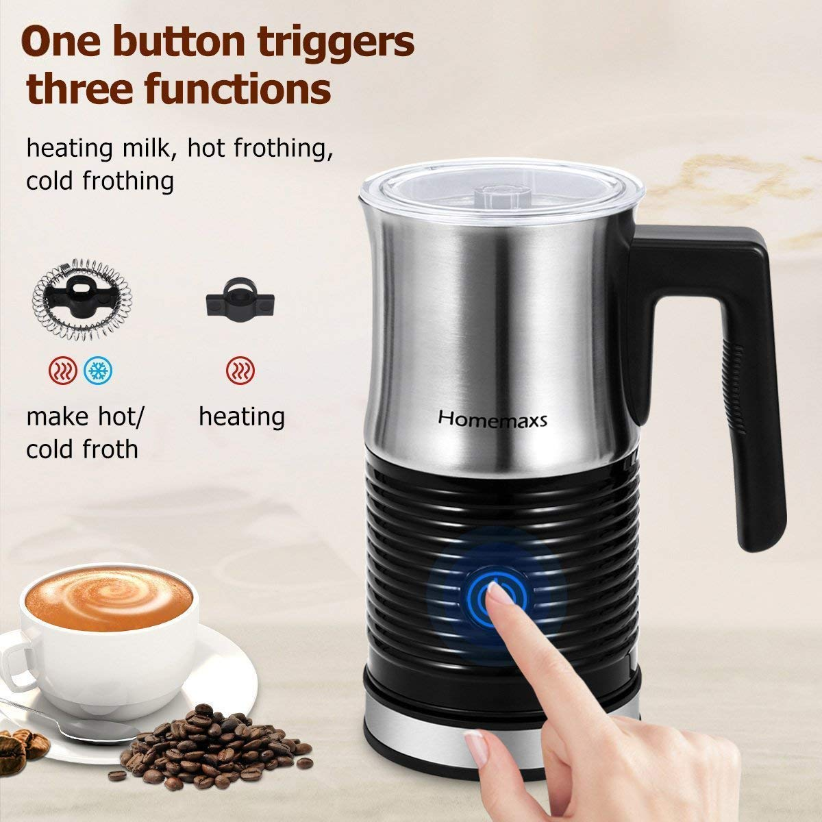 Milk Frother, Homemaxs Electric Milk Frother & Warmer with Hot or Cold Function, Anti-hot Base & Non-Stick Interior Perfect Foam for Coffee, Hot Chocolate, Cappuccino(Black) by Homemaxs (Image #2)