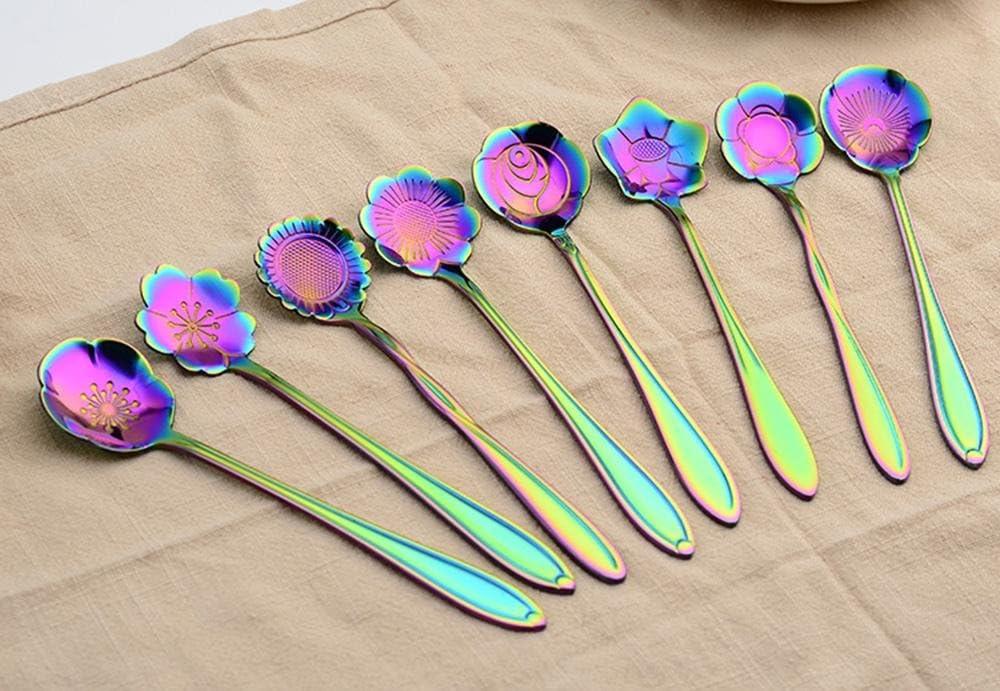 niceEshop TM Kit de 8 Pcs Cuill/ères en Acier Inoxydable sous Forme de Fleurs pour Caf/é, Th/é, Sucre et G/âteau Couleur Arc en Ciel