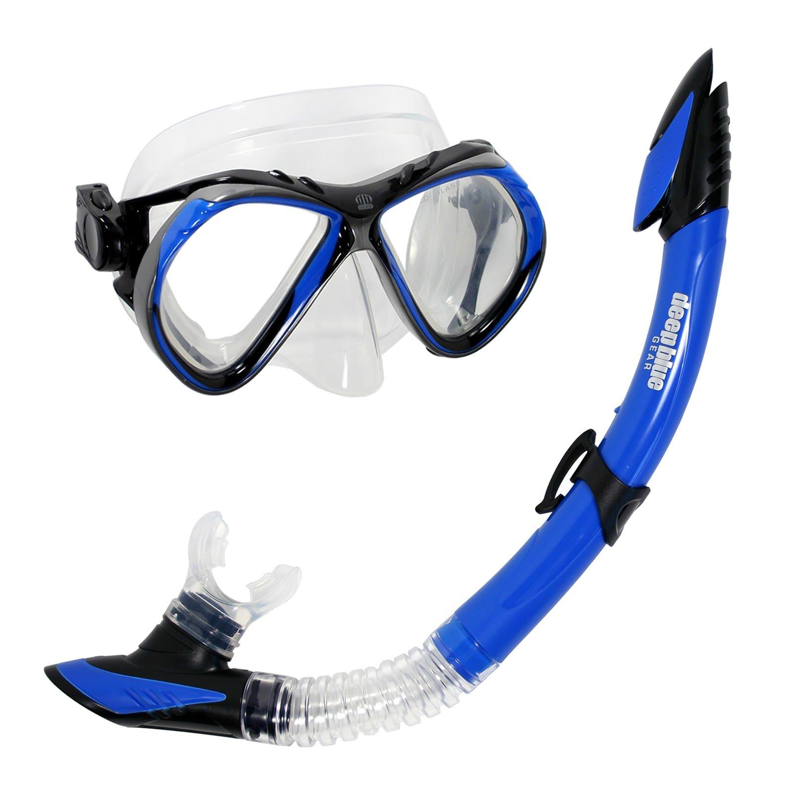 Deep Blue Gear Del Sol 2 Diving Mask and Semi-Dry Snorkel Set, Adult, Blue