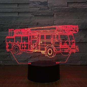 Grúa Camión elevador Coche 3D USB LED Luz nocturna AA Energía de ...