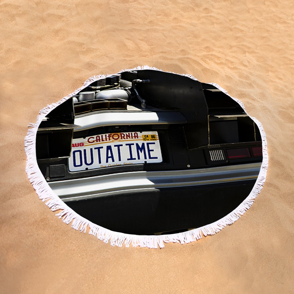 Pixels Round Beach Towel With Tassels featuring ''Outatime'' by Ricky Barnard