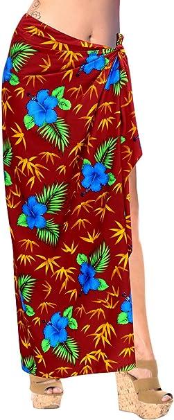 LA LEELA Ropa de Playa del Traje de baño Traje de baño Traje de baño Pareo Encubrir Las Mujeres Pareo de Color Blood Rojo
