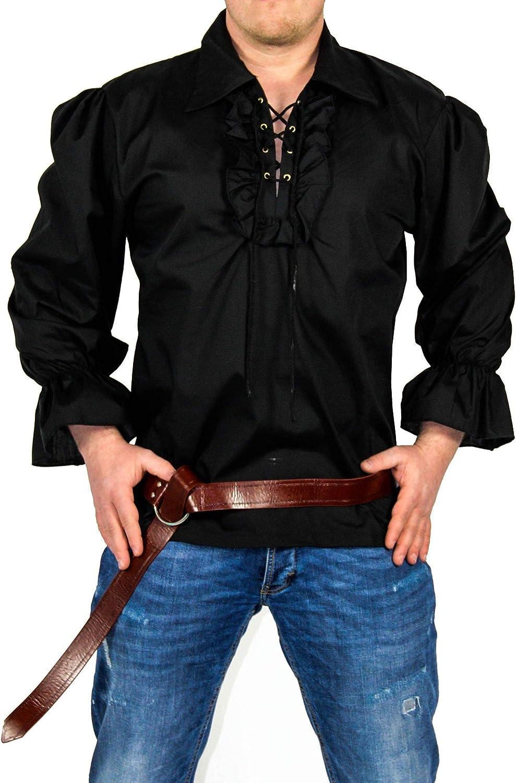 FOXXEO Camisa Pirata Hombre Camisa Negra Camisa Carnaval Medieval Camisa Carnaval, Talla XL: Amazon.es: Juguetes y juegos