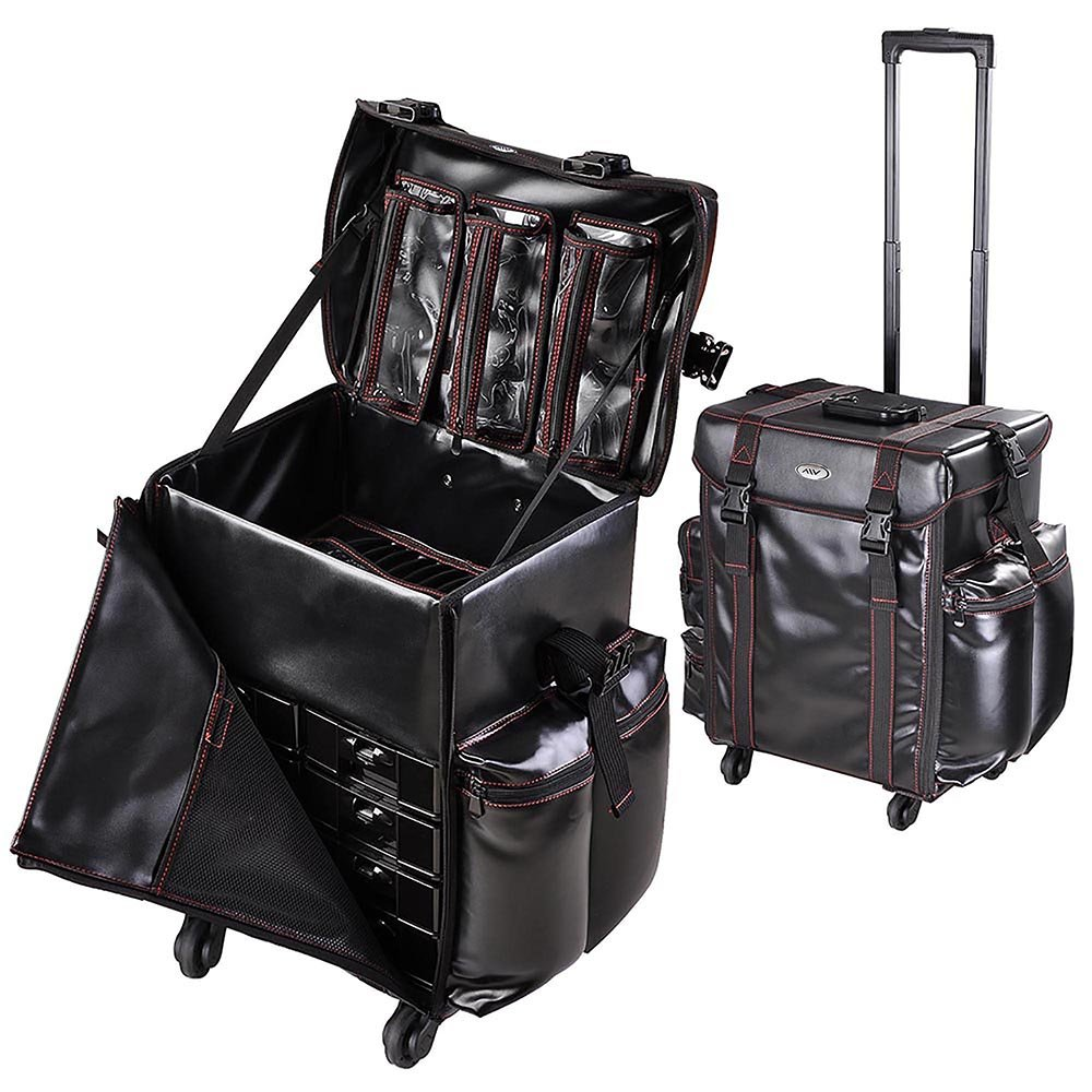 "AW Black Soft-sided Rolling Makeup Case 17x14x22"" PU Cosmetic Train Bag Travel Party Show"