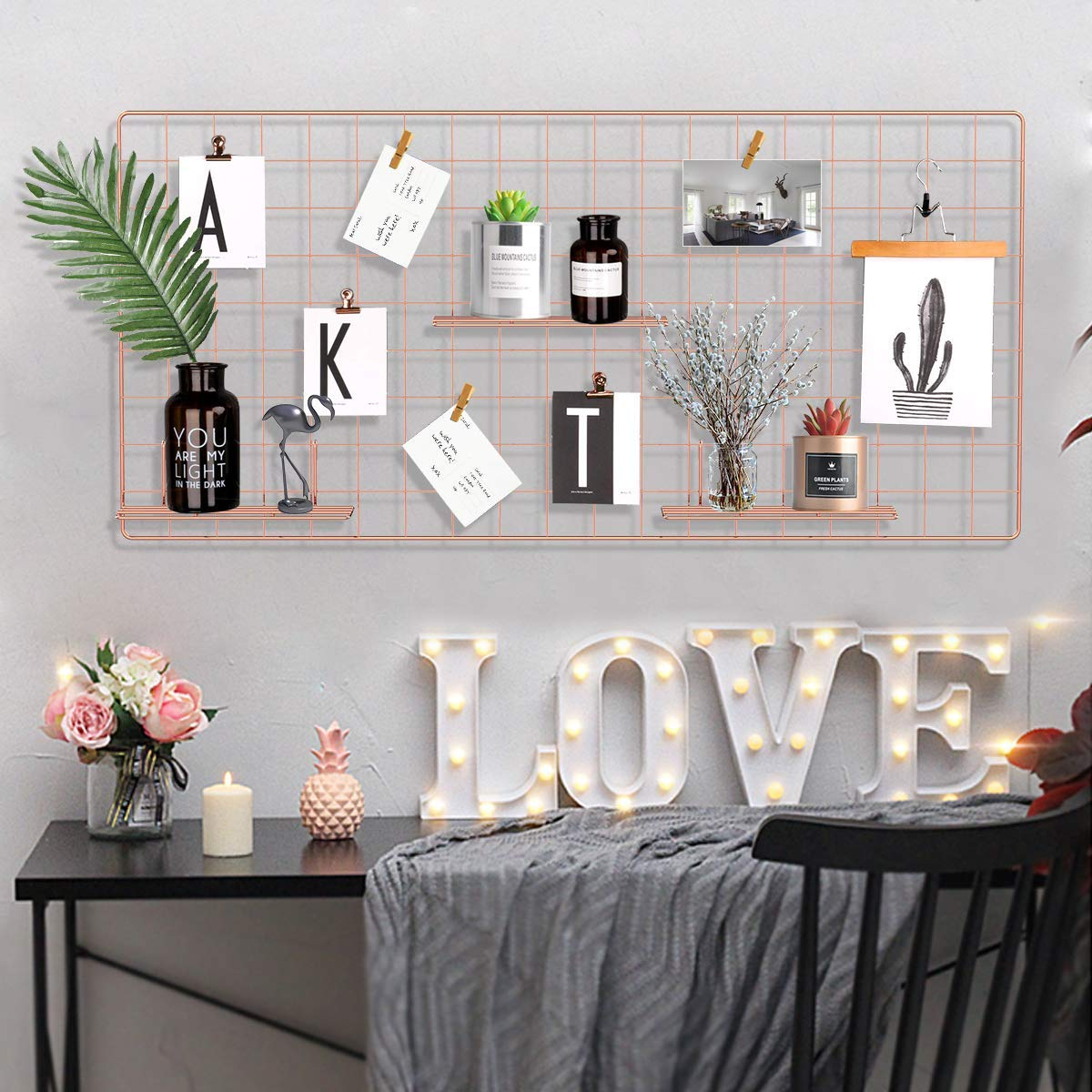 Pulatree Grid Photo Wall(Ultra Large), Wire Wall Grid Panel for Photo Hanging Display Metal Grid Wall Decor Organizer Mesh Panels Display Wall Storage 37.4 x 17.7 inch - Rose Gold by Pulatree