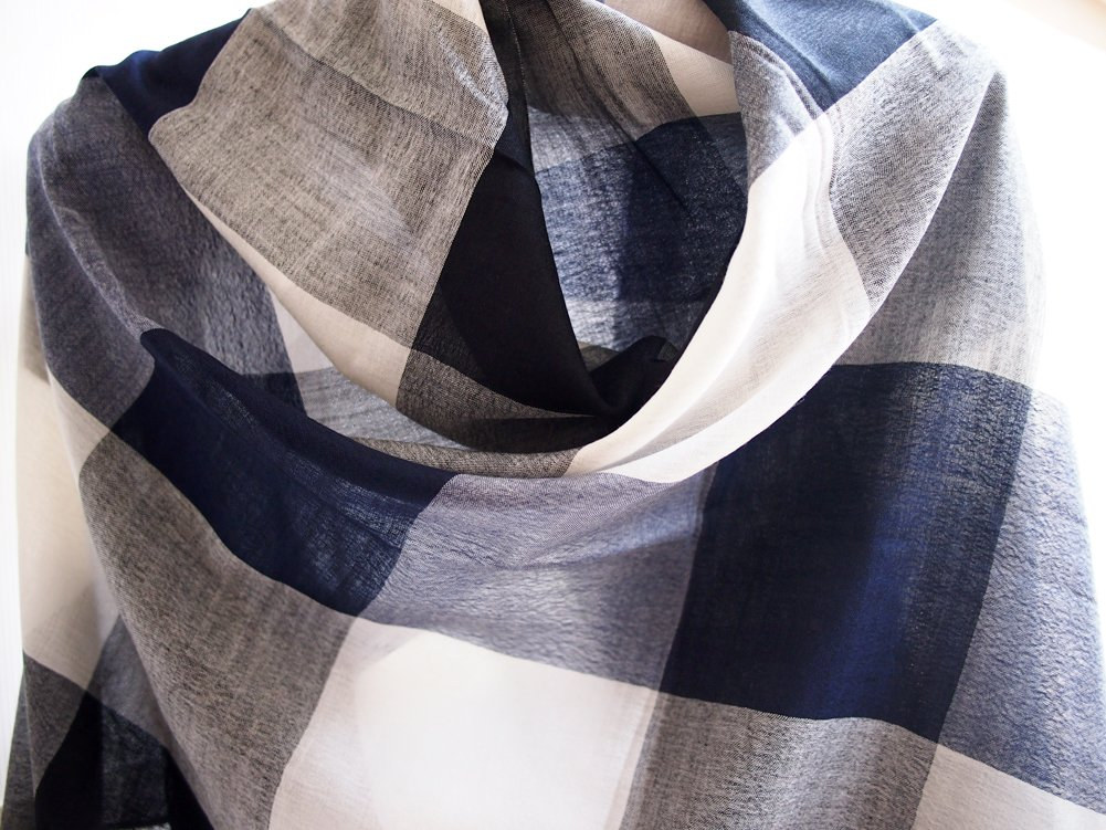 Free Shipping - India Hand Woven - Premium Light Weight Cashmere / Kashmir - Black White and Navy Blue Stripes - 81'' X 30'' Wraps / Scarf / Shawl / Scarves / Tablecloth / Home Decoration by SukSomboonShop