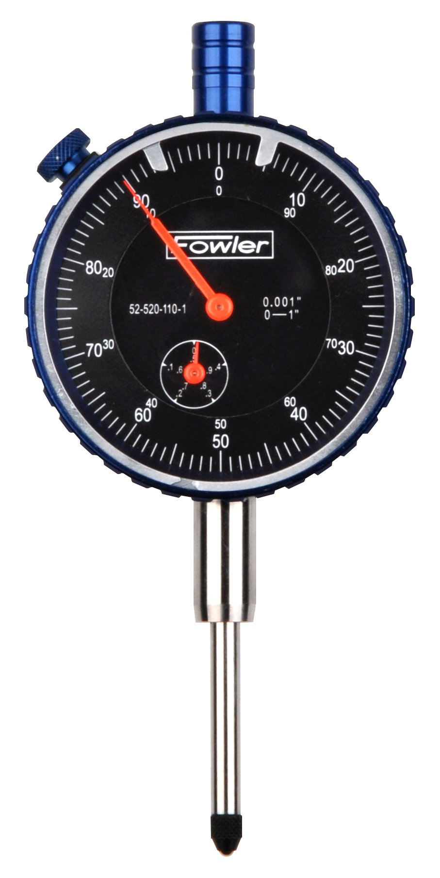 "Fowler Full One Year Warranty 52-520-110-1 1"" Brass Premium Dial Indicator, Black Face, 1'' Total Travel"