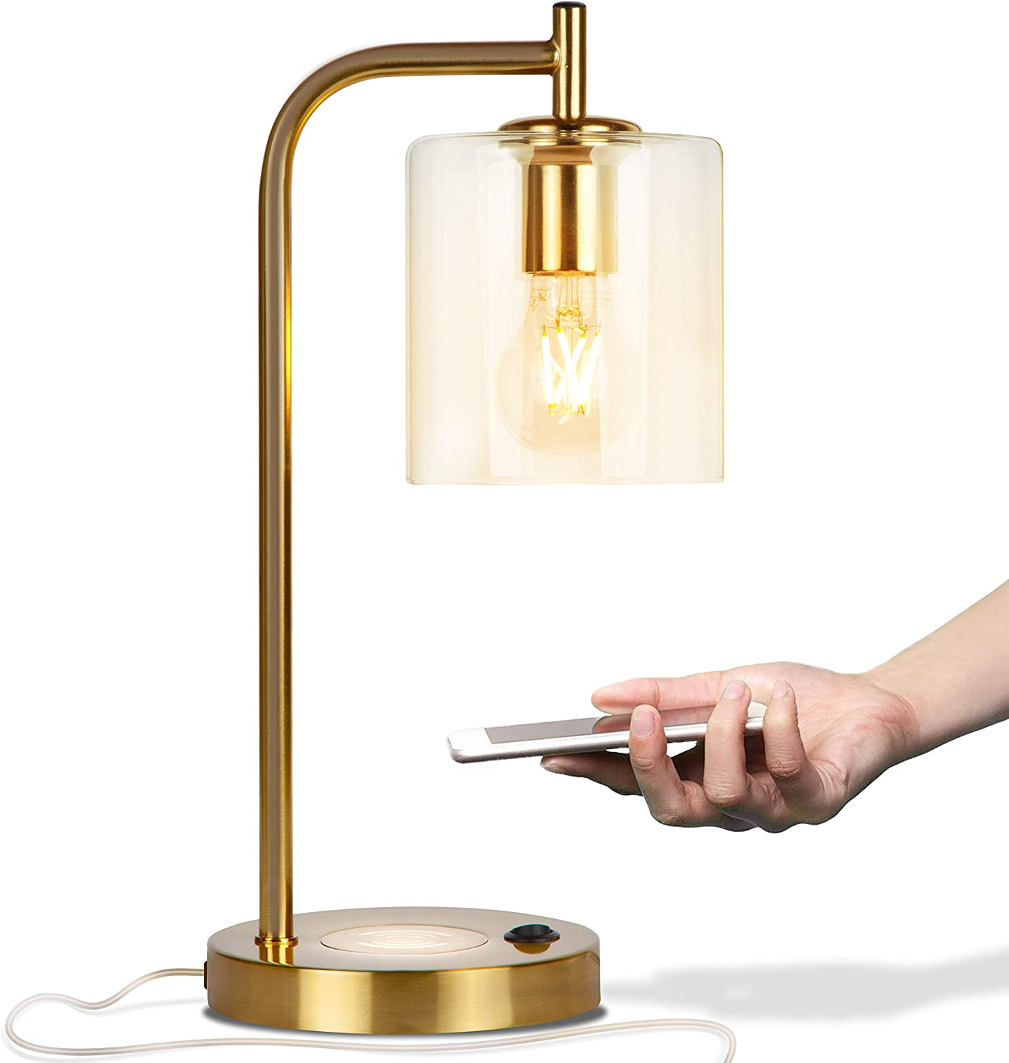 Brightech Elizabeth Office Desk Lamp - Wireless Charging Pad and USB Port – Living Room Table Light for Midcentury, Industrial & Farmhouse Decor - Hanging Glass Shade - LED Bulb - Brass Gold Color