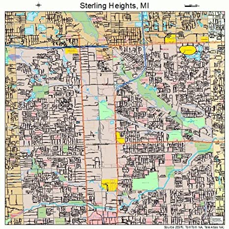 Amazon Com Large Street Road Map Of Sterling Heights Michigan Mi