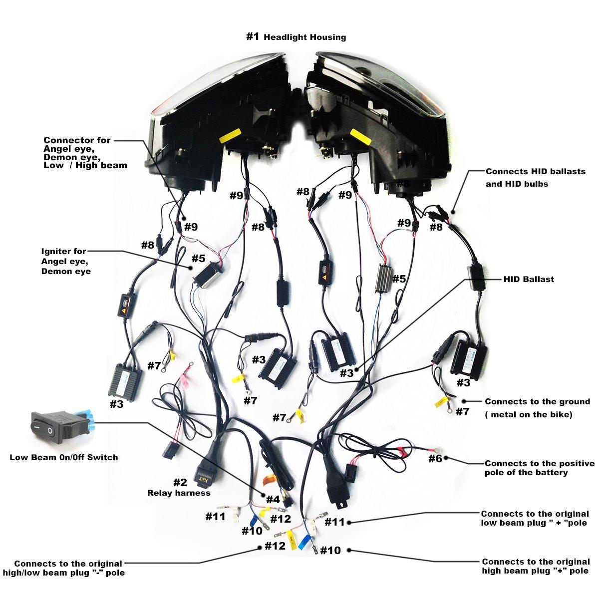 Kt Led Angel Eye Headlight Assembly For Honda Goldwing 1200 Wiring Diagram Gl1800 2001 2017 Green Demon Automotive