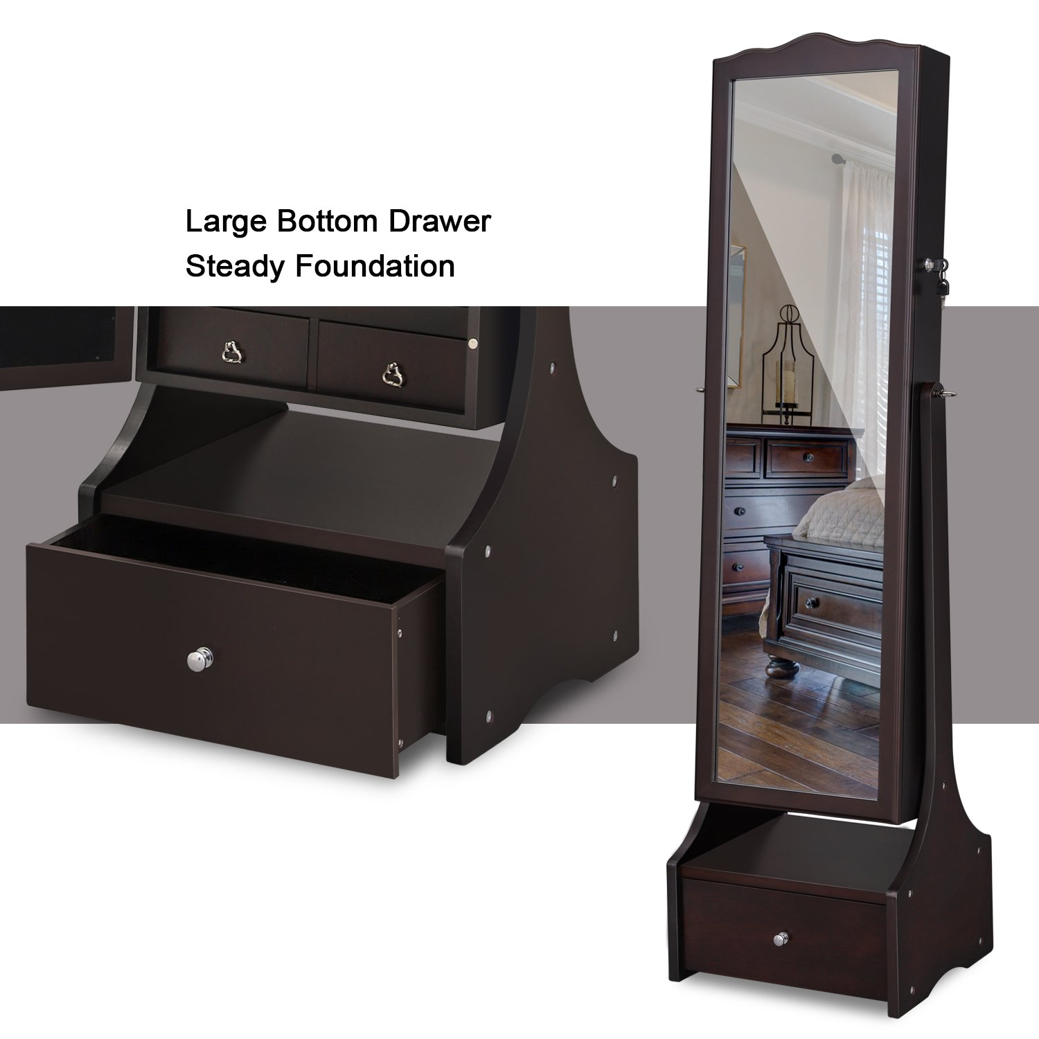 SONGMICS LED Jewelry Cabinet Lockable Jewelry Armoire with Full Length Mirror, Makeup Tray and Large Drawer Base Brown Patented Mother's Day Gift UJJC87BR by SONGMICS (Image #5)
