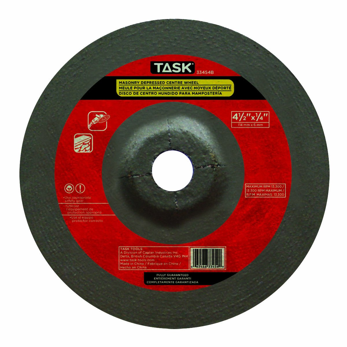 Task Tools Task Tools 33454B 4-1//2-Inch by 1//4-Inch Masonry Cutting Wheel with Depressed Center LCM Team