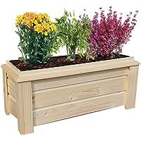 Macetero para jardín para terraza o balcón, con macetas extraíbles, de madera para flores o hierbas