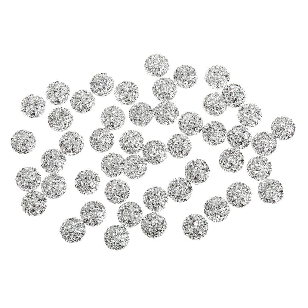 50pcs 12mm Crystal AB Flat Back Round Shaped Resin Rhinestones Embellishments - Multi, 2XL Generic STK0155005501