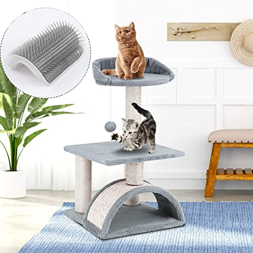 ScratchMe Tree Condo with Scratching Post, Cat Tree with Groomer Brush , PTFURNTREE3P32GREY, PTFURNTREE3P32GREY, PTFURNTREE3P32GREY, PTFURNTREE3P32GREY