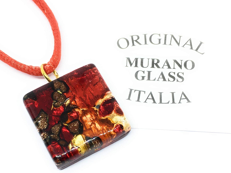 Diana SML Bijoux en Verre de Murano Pendentif en Verre de Murano /à Paillettes sur Feuille dor 2 x 2 cm avec bo/îte Cadeau et Certificat