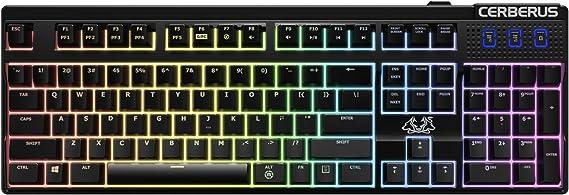 Asus Cerberus Mech RGB - Teclado gaming mecánico con efectos de retroiluminación RGB, 100% anti-fantasma N-key rollover (NKRO) y teclas de acceso ...