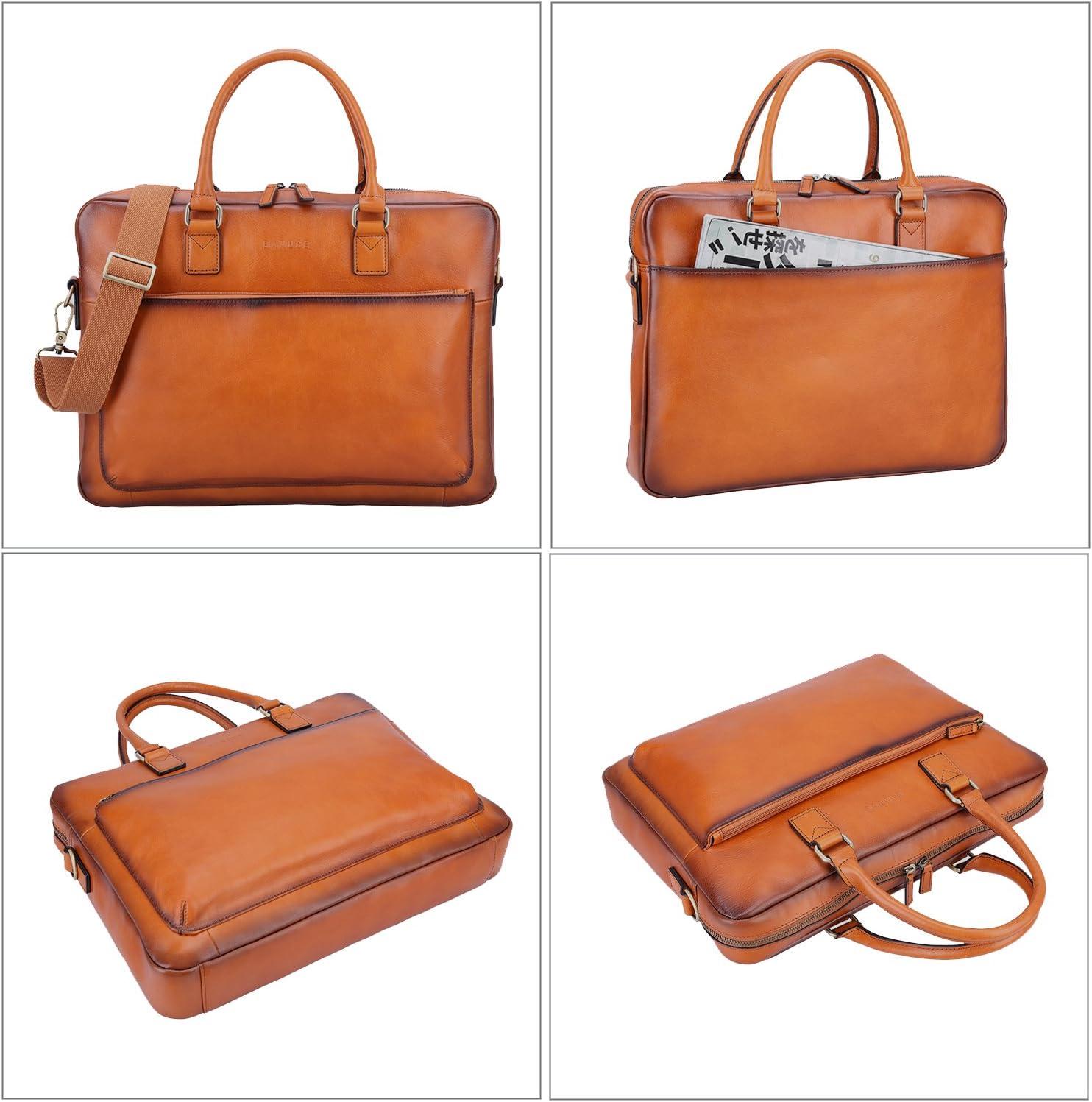 Banuce Full Grains Italian Leather Briefcase for Men Women Handbags Attache Case Business Tote Shoulder Messenger Bag