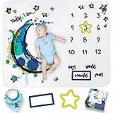 Manta para bebé con diseño de hito para fotos de crecimiento, suave manta mensual para baby shower – Manta de hito de bebé pa